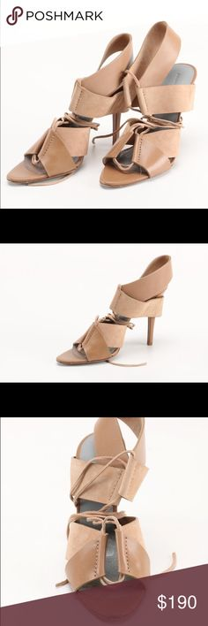 """Alexander Wang Malgosia Leather & Suede Sandal Alexander Wang  Malgosia Leather & Suede Sandal, Truffle  Wide bands of leather and suede shape strappy Alexander Wang sandal.  4 1/2"""" covered heel; band detail sits under heel.  Lace-up front; ties may wrap around ankle.  Leather lining, padded footbed, and sole.  Imported of Italian materials. Alexander Wang Shoes Heels"""