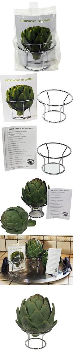 Artichoke Steamer and holder - Stainless-steel with low fat artichoke recipes