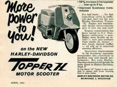 1961 The new H model with higher compression Lawn Mower Maintenance, Motor Scooters, Harley Davidson Sportster, Vintage Posters, Mad, Bike, Antique, Classic, Motorbikes