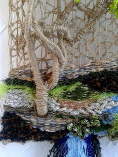 Hand weaving tree painting textile painting decor wall