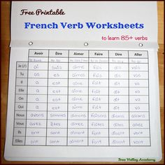 17 pages of free printable french verb worksheets to learn the present tense of common verbs. 2 blank printables included that can be printed as many times as needed for adding verbs of your choice. Put pages in duo tang and your child can make their French Lessons For Beginners, Free French Lessons, Learn French Beginner, Learn French Online, Learn To Speak French, French Language Lessons, French Language Learning, Learning Spanish, Learn French For Free