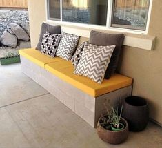 Ideas For Diy Outdoor Patio Furniture Cinder Block Bench – Cinder Blocks – Cinder Blocks - Modern Backyard Seating, Garden Seating, Outdoor Seating, Backyard Ideas, Backyard Patio, Patio Ideas, Backyard Projects, Outdoor Fire, Extra Seating