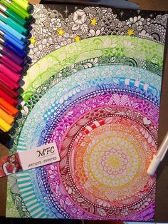 Art by Maud Feral Cheveau - triples fineliner pens by Staedler. Mandala Art, Mandala Doodle, Zen Doodle, Doodle Art, Easy Mandala Drawing, Doodle Patterns, Zentangle Patterns, Zentangles, Dibujos Zentangle Art