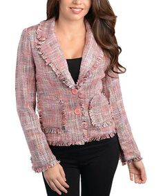 Take a look at this Pink Tweed Jacket by Buy in America on #zulily today!