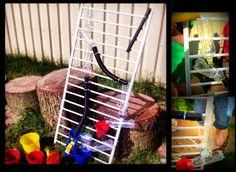 Wasserbahn aus Plastikflaschen und alles was die Kinder noch so an ideen hatten ;) Hat ein irre Spaß gemacht !