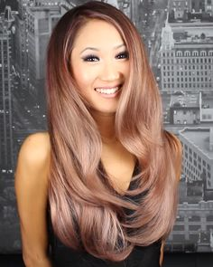 Gold Rose Ombré on Clara Hwang, by Guy Tang. My skin tone is quite similar, so I think this color might end up well on my hair.