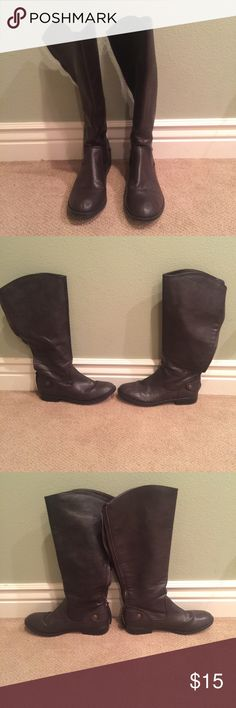 Riding Boots Brown Faux Leather Riding Boots Shoes Heeled Boots