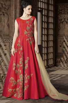 India has a rich and vibrant culture and our collection of wedding wear salwar suits beautifully represent it. Fancy Red Color Phantom Silk Wedding Wear Embroidered Floor Length Anarkali Suit This red color anarkali salwar kameez will give you a confidenc Silk Anarkali Suits, Cotton Anarkali, Anarkali Dress, Long Anarkali, Lengha Choli, Salwar Suits, Sarees, Abaya Fashion, Fashion Dresses