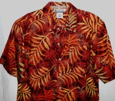 COLUMBIA Button Up Hawaiian Men Size S Small Casual Shirt Brown Short Sleeve #Columbia #ButtonFront