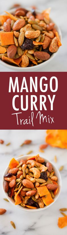 An addictive blend of roasted nuts, sweet mango, dried cherries and curry seasonings, this Mango Curry Trail Mix is perfect for parties or on-the-go snacking! Vegan Snacks, Healthy Snacks, Healthy Recipes, Vegan Sweets, Trail Mix Recipes, Snack Recipes, Curry Seasoning, Mango Curry, Healthy Granola Bars