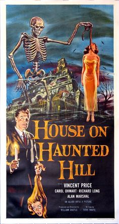HOUSE ON HAUNTED HILL  (1958)  Original three-sheet size, 41x81 movie poster.
