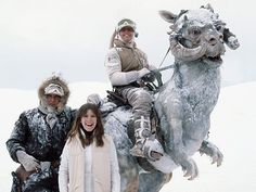 Star Wars: Episode V - The Empire Strikes Back, Carrie Fisher, ... | Harrison Ford, Carrie Fisher, Mark Hamill, and a Tauntaun, on location in Finse, Norway, for filming of the Hoth scenes in The Empire Strikes Back