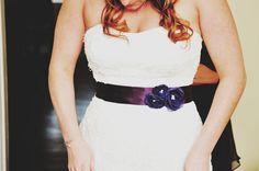 "love the addition of these deep purple fabric sash to Amanda's dress ~ Amanda & Keith's DIY ""Woodland"" Maryland Fall Wedding"