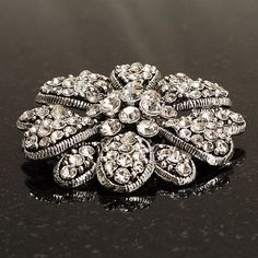 Vintage Swarovski Crystal Floral Brooch (Antique Silver): Amazon.co.uk: Jewellery