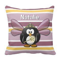 penguin+pillows | Custom Name Cute Penguin Princess Throw Pillows