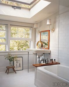 Add a Flat Surface to Your Bathtub: You can rest a plank of wood or a tray on your bathtub if you don't have a place to put your toiletries. Make sure the addition is water- and moisture-resistant.  Photo courtesy of Elle Decor