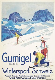 SWITZERLAND - Gurnigel Erika von Kager (1890-1975) Berner Oberland #Vintage #Travel #Winter sports