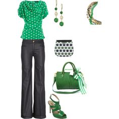 """summer work outfit - """"Green with Envy"""" by melly1376 on Polyvore {I don't know, the shoes look off w/ that shirt but I love all the rest}"""