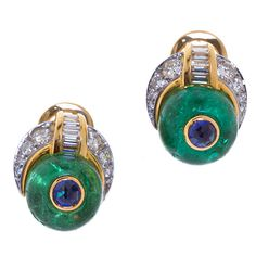 Cabochon Emerald, Sapphire, and Diamond Earclips, Bulgari-great for day wear!