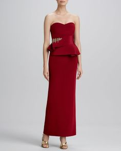 Notte by Marchesa Bead-Detail Strapless Sweetheart Gown.. #marches #reddress #notte