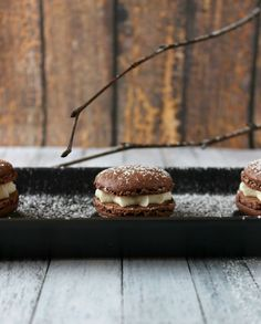 Inspired by Mexican hot chocolate, these macarons have a chocolaty cayenne bite with a cool whipped cream filling. A perfect treat for a cool winter evening!