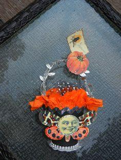 Crepe Paper Favor Basket Halloween Moon Face by ApprenticeWizart, $18.00