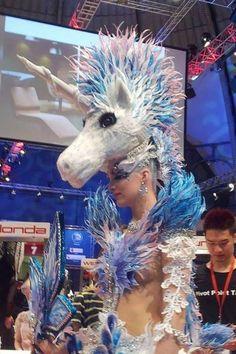 Unicorn head and costume made entirely of hair. #hotonbeauty fb.com/hotbeautymagazine unicorn hair fantasy hair OMC Hairworld hair competition 2015 hair competition hair fantasy fb.com/hotbeautymagazine