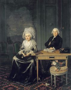 Portrait of Jacob Feitama (1726-1797) and his Wife, Elisabeth de Haan (1735-1800), 1790 by Wybrand Hendriks. Originally, one of the grumpy couple's daughters, Maria, stood on the left, but she was painted over when she married an officer against her parents' wishes.[You can see where she has been painted out - and not very well done-perhaps deliberately so the couple had a talking point for their grumpiness!]
