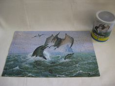 Vintage Tylosaurus Dinosaur Puzzle in a Can by VintageByThePound, $22.00