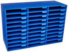 30 Slot Blue Desk Organizer Office Mail Box Sorter Pigeon Hole File Paper