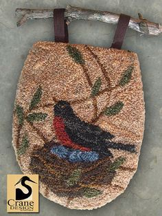 New Release Nesting Robin Punchneedle Gathering Bag Pattern Russian Embroidery, Crewel Embroidery, Embroidery Patterns, Penny Rug Patterns, Rug Hooking Patterns, Wet Felting, Needle Felting, Weavers Cloth, Crane Design