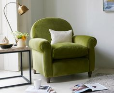 Beautiful green club chair by Loaf. Green is the new grey!