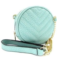 """CROSSBODY    Sof tFaux Leather Zipper Top Closure 55"""" chain strap, 1 compartment only Approximate dimensions: L5.5"""", H5.5"""" and W2.8"""" 