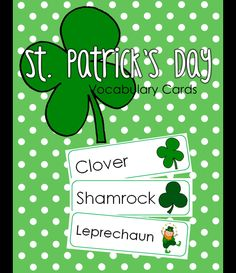 These St. Patrick's Day Vocabulary Cards are great for a writing center or for use in St. Patrick's themed activities. Use them to help with spelling and letter formation while writing letters to a leprechaun! | by #TeachersPayTeachers Teacher-Author Erin Holleran