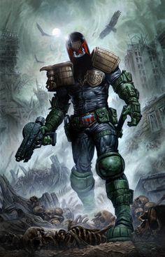 Greg Staples Judge Dredd year one painted cover art