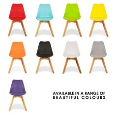 Eames Inspired Cool Grey Dining Chairs With Solid Oak Crossed Wood Leg Base