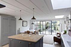 Modern Victorian House kitchen by Plain kitchen Co Kitchen Doors, Open Plan Kitchen, Pantry Doors, Cabinet Doors, Basement Kitchen, Kitchen Cabinets, Küchen Design, House Design, Interior Design