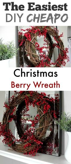 Make this DIY Christmas berry wreath in 2 minutes flat for only a few bucks!* 1500 free paper dolls Christmas gifts at Arielle Gabriels The international Paper Doll Society also free China paper dolls The International Paper Doll Society * Diy Christmas Door Decorations, Holiday Wreaths, Christmas Centrepieces, Winter Christmas, Christmas Holidays, Christmas Crafts, Christmas Room, Christmas Design, Country Christmas