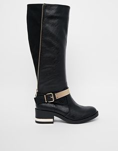 River Island Gold Plate Knee Riding Boots