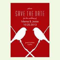 Lipstick Red Birds Wedding Save the Date Cards