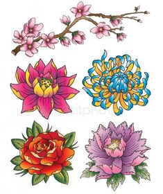 The Beauty of Japanese Embroidery - Embroidery Patterns Japanese Tattoo Art, Japanese Tattoo Designs, Japanese Sleeve Tattoos, Flower Tattoo Designs, Japanese Flower Tattoos, Japanese Tattoo Meanings, Japan Tattoo Design, Asian Flowers, Oriental Flowers