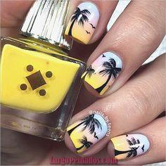 Summer nails palm tree nails nails art - tree nail art, palm tree nails e. Cute Nails, Pretty Nails, Palm Tree Nail Art, Nails With Palm Trees, Tropical Nail Designs, Tropical Nail Art, Beach Nail Art, Nagellack Design, Colorful Nails