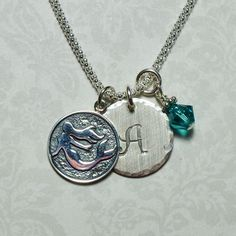 Personalized Mermaid Hand Stamped Sterling Silver Initial Charm Necklace by #DolphinMoonCreations #mermaidnecklace