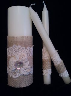 Burlap and Alencon Lace Unity Candle Set. $59.00, via Etsy.