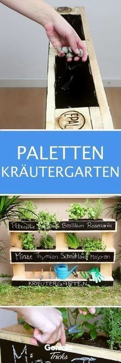 With this simple project you will conjure up a real eye-catcher for your balcony or garden. With this simple project you will conjure up a real eye-catcher for your balcony or garden. Herb Garden Pallet, Herb Garden Design, Potager Garden, Pallets Garden, Garden Edging, Diy Garden Projects, Easy Projects, Balcony Plants, Balcony Garden