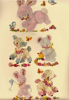 c1950s KITSCH Cuties Meyercord Fuzzy Decals Sheet of 5 by Walker Street Vintage, via Flickr
