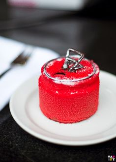 Flourless Choco Sponge n Choco Sabayon Mousse, Dark Choco Fizzy Disk, Cherry Cola Jelly n Cherry Cola Syrup by Adriano Zumbo Photographed By A Table For Two