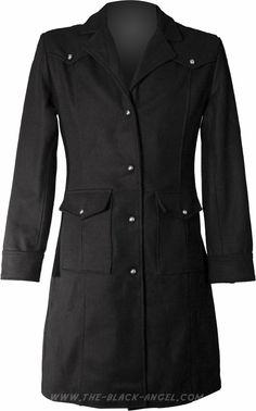 Long black cotton gothic jacket, military uniform style, by Hard Leather Stuff.