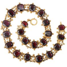 1STDIBS.COM Jewelry & Watches - Georgian Period Texture Galore in A... ❤ liked on Polyvore featuring jewelry, necklaces, bracelets, accessories, antique garnet necklace, antique jewelry, garnet necklace, antique garnet jewelry and garnet jewelry