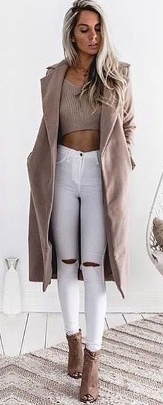 #summer #outfits Camel Coat + Mocha Crop Top + White Ripped Skinny Jeans